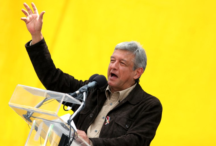 Mexican presidential candidate Andres Manuel Lopez Obrador speaks to supportersin Mexico City on Sunday.
