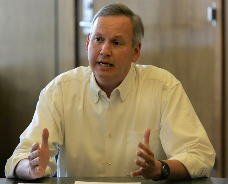 Indianapolis Mayor Bart Peterson speaks during a special emergency meeting of the City/County Criminal Justice Planning Commission in Indianapolis on Saturday.