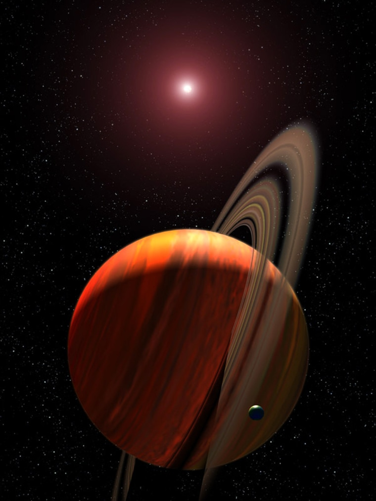 An artist's conception shows an extrasolar planet with its parent star in the background. Astronomers don't know whether the planet has rings and moons, as shown here, but they say the scenario is plausible.