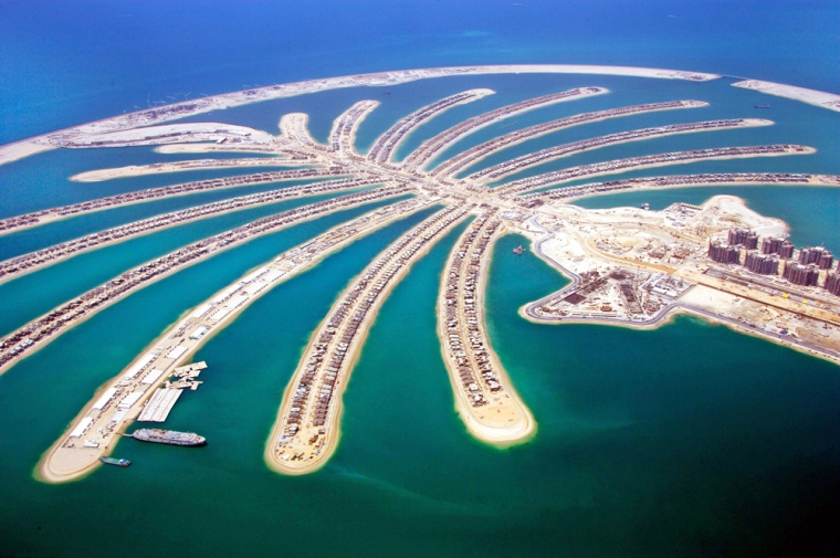 In this photo released by Nakheel Development, construction goes on at Jumeira Palm Island in Dubai, United Arab Emirates.