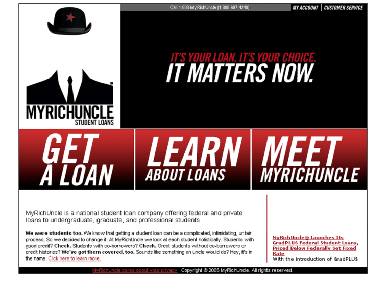 My Rich Uncle's web site offers an online application process that lets potential borrowers apply for multiple loan products at the same time.