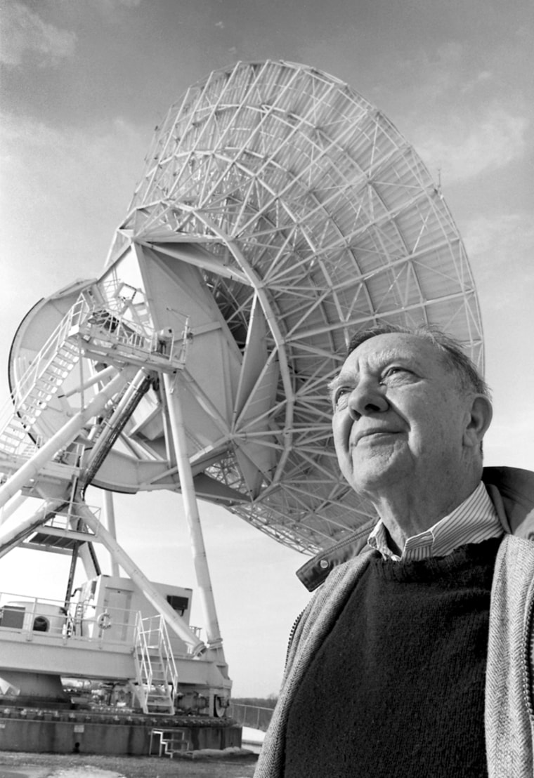 Space physicist James Van Allen, shown here in a University of Iowa photo,was best-known for discovering the radiation belts that now bear his name.