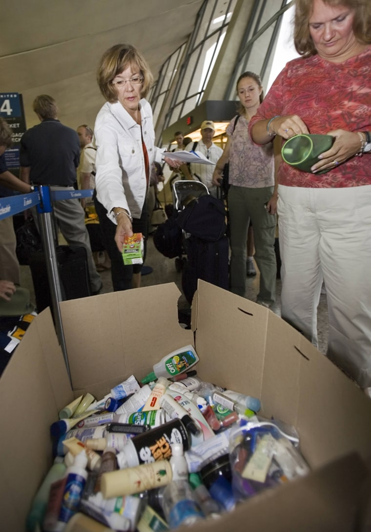 Travelers dispose of items qualifing as