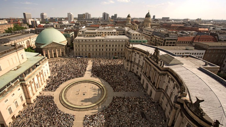 The Table of Free Voices, seen here in a photo illustration, will be the site of a groundbreaking meeting ofthinkers from around the world in Berlin on Sept. 9.