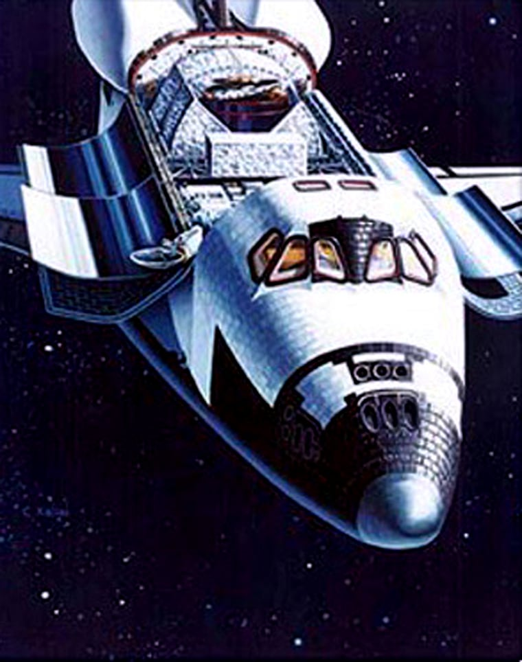 The KU-band antenna can be seen in its deployed configuration just to the left of the cockpit in this artist's depiction of the space shuttle in orbit.