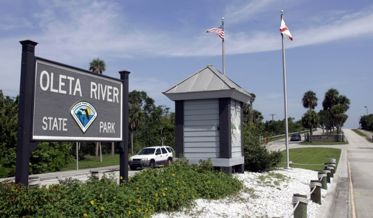 The entrance to Florida's Oleta River State Park, where a 13-year-old military academy cadet died Saturday, isshown onSunday.