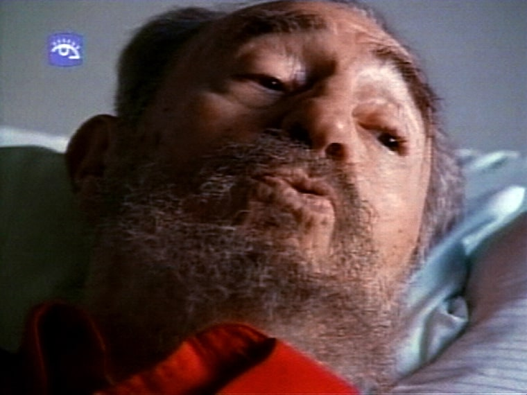 Cuban leader Fidel Castro is shown on Cuban television station Cubavision in bed at a hospital on Sunday in Havana, Cuba.