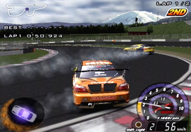 """In Yuke's Media Creations' new PS2 title """"D1 Grand Prix,"""" aspiring """"drifters"""" slide their tricked-out cars around the track in a sweeping, screeching display of power and finesse."""