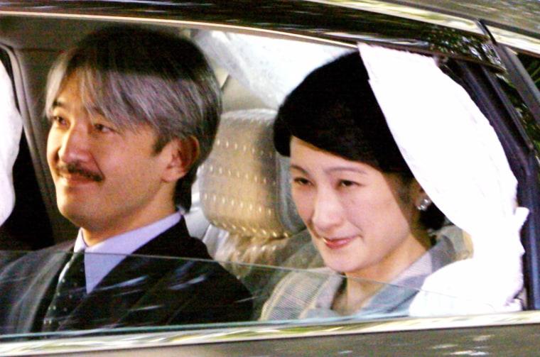 Japanese Princess Kiko and her husband Prince Asihino arrive at Tokyo's Aiiku Hospital