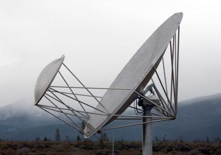The Allen Telescope Array uses a network of 20-foot-wide antenna dishes to observe the radio sky. Although it was designed for the search for extraterrestrial intelligence, the U.S. Navy is interested in adapting the system for earthly purposes as well.