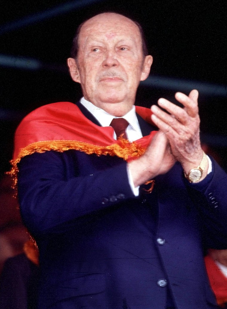 File photo of Paraguayan dictator Alfredo Stroessner applauding at a party rally in Asuncion