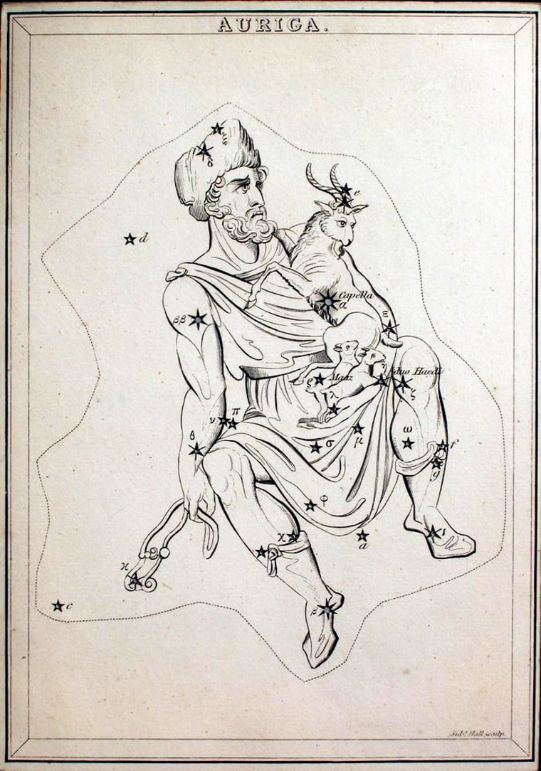 An 1825 astronomical chart attributed to Jehoshaphat Aspin shows Auriga the Charioteer, with the mythological figure holding a ram, two ewes and a bridle. The Aurigid meteor shower is so named because it appears to emanate from the constellation Auriga.