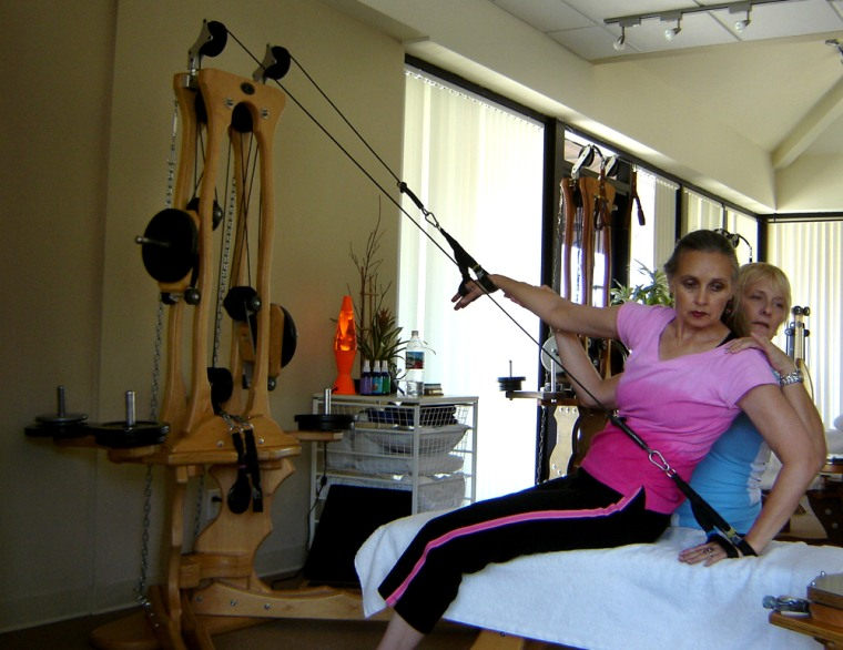 """Diana Osborne recently started taking Gyrotonic sessions from instructor Barbara Schwarz atGyrotonic L.A. in Santa Monica, Calif. Osborne is hoping """"Gyro"""" will help keep her bones strong."""