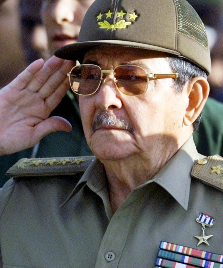 File photo of Cuba's defense minister and brother of Cuba's President Castro General Raul Castro during ceremony in Havana