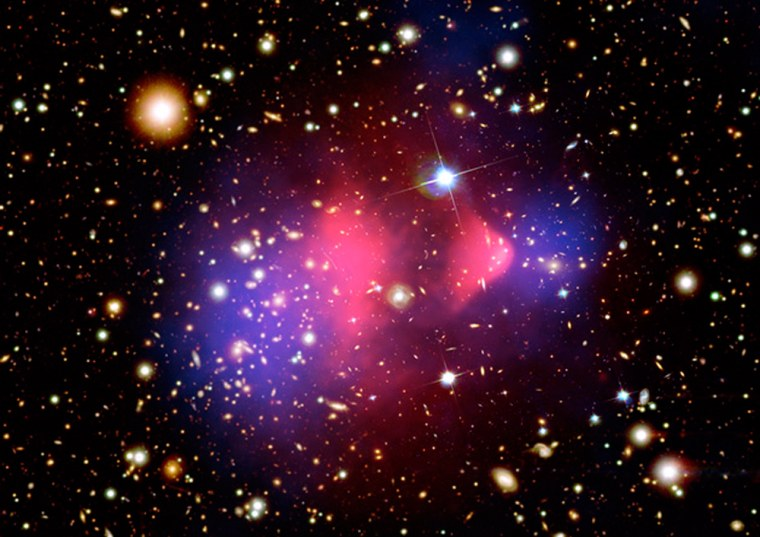 Hot gas detected by the Chandra X-ray Observatory in X-rays is seen as two pink clumps that contain most of the normal matter in the two clusters. The bullet-shaped clump on the right is hot gas from one cluster, which passed through the hot gas from the other larger cluster. Other telescopes were used to detect the bulk of the matter in the clusters, which turns out to be dark matter (highlighted in blue).