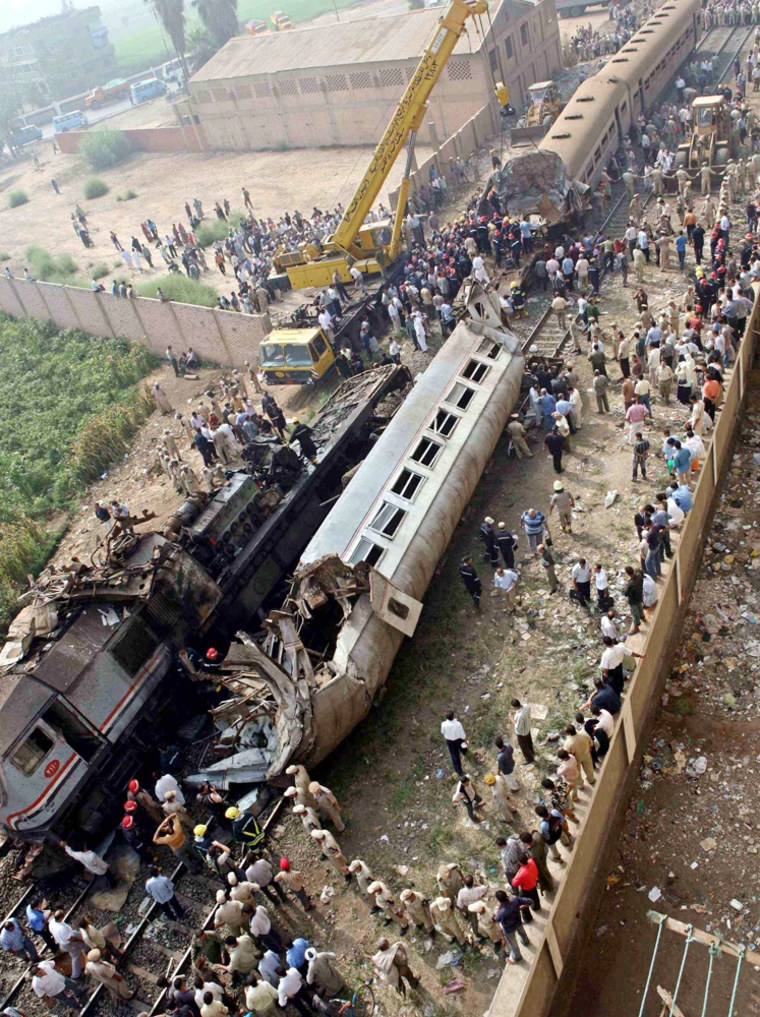 View of site of train collision in Qalyoub