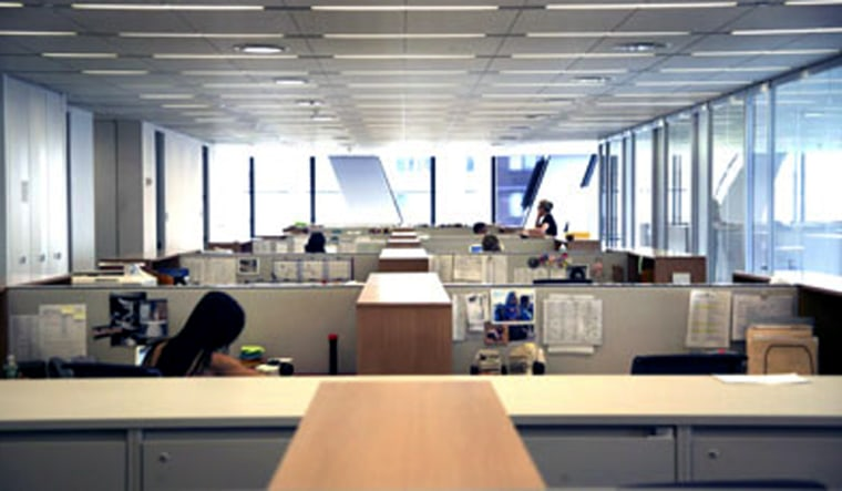 Workstations at Hearst allow natural light into the area an offer views to all.