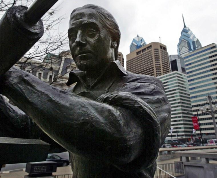 A bronze sculpture in Philadelphia, titled Benjamin Franklin Craftsman.
