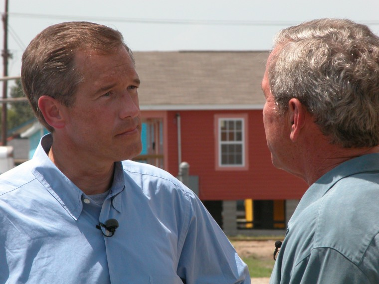President Bush talks with 'NBC Nightly News' anchor Brian Williams on Tuesday in New Orleans.