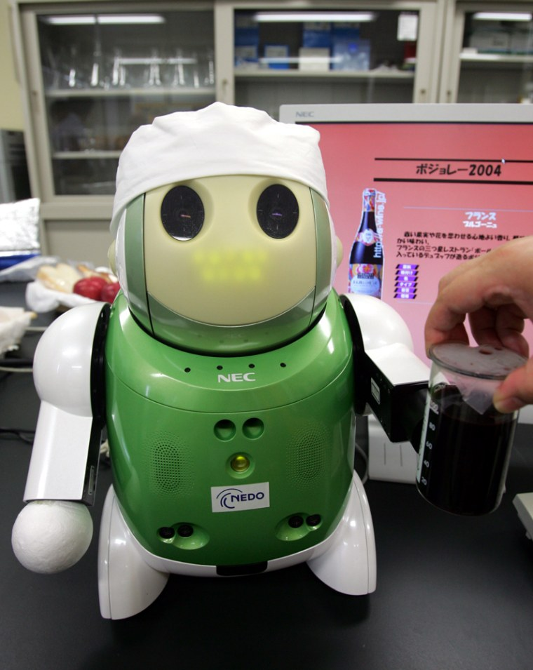 """Researchers at NEC System Technologies and Mie University have designed the a """"winebot,"""" a mechanical sommelier that is able to identify dozens of different kinds of wine, cheeses and hors d'oeuvres."""