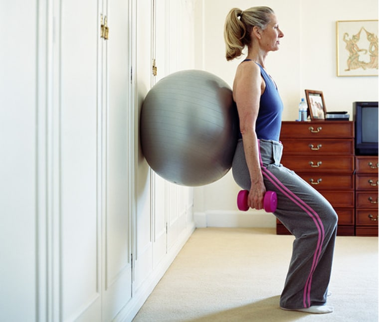 An exercise ball and some hand weights can help you get a good workout at home without breaking the bank.