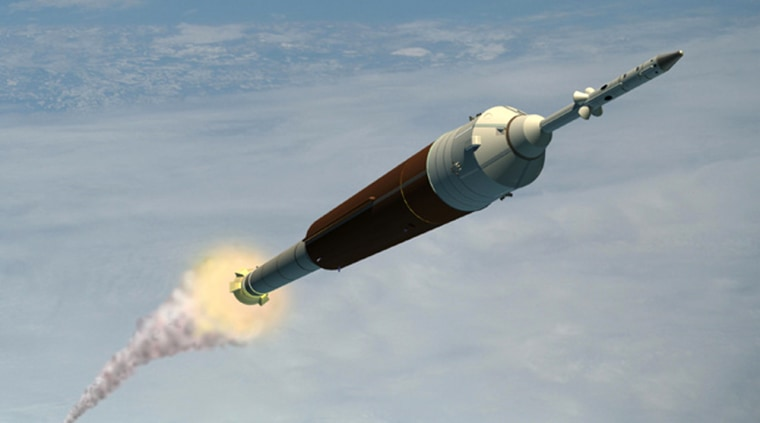 In this artist's conception, the Ares 1 rocket rises with an Orion spaceship on top.