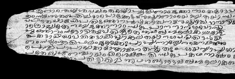 Each palm leaf of the sacred Hindu manuscript, the Sarvamoola granthas, was captured in multiple sections, processed and digitally stitched together. This image shows just part of one stitched and processed page.