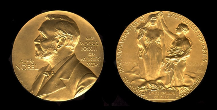"This medal for the chemistry Nobel Prize was won by Linus Pauling in 1954 for his research ""into the nature of the chemical bond."" This year's chemistry prize is due to be awarded on Wednesday."
