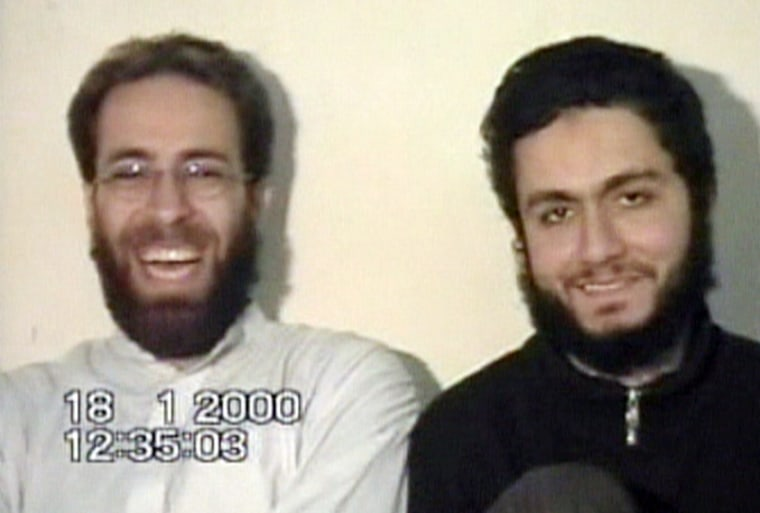 Sept. 11 hijackers Ziad Jarrah, left, andMohammed Atta laugh in what is apparently their last will and testament in a videotape apparently made in Afghanistan on Jan. 18, 2000.