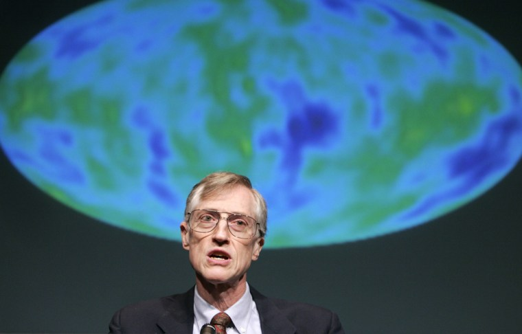 Mather answers questions after receiving word he won the 2006 Nobel Prize at NASA Headquarters in Washington