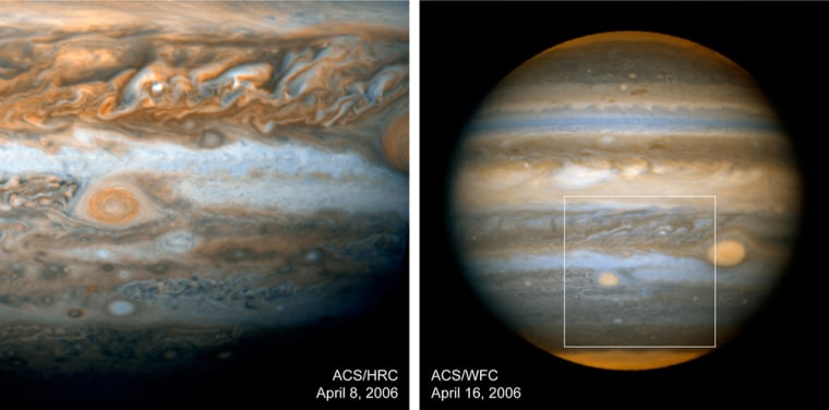 """These images released by NASA show two views of Jupiter's """"Little Red Spot,"""" which is about the size of Earth. The image on the left shows a close-up view of the spot (center left,) and at right, a box has been added to show the spot's location on Jupiter."""