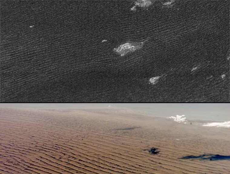 Cassini radar sees sand dunes on Saturn's giant moon Titan (upper photo) that are sculpted like Namibian sand dunes on Earth (lower photo).