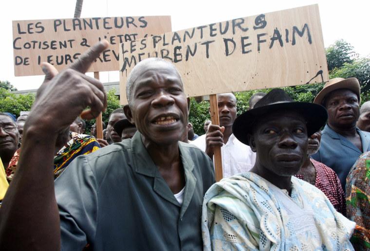 Cocoa farmers stage a protest in Abidjan