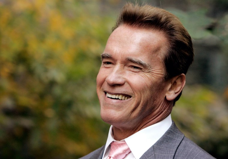 Cailifornia Governor Arnold Schwarzenegger smiles during a news conference in New York
