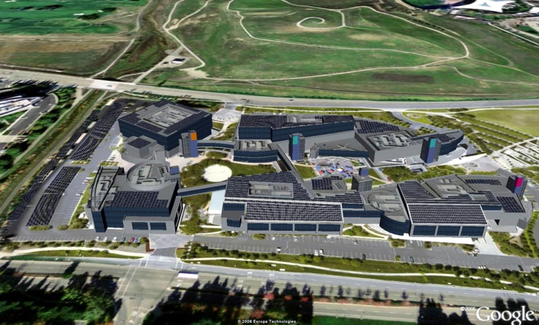 This 3-D rendering shows what Google's campus is intended to look like once 9,212 solar panels are installed on top of buildings and garages.