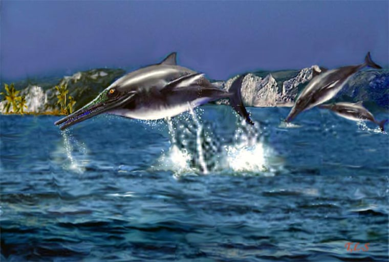Artist illustration of a group of Ichthyosaurs.