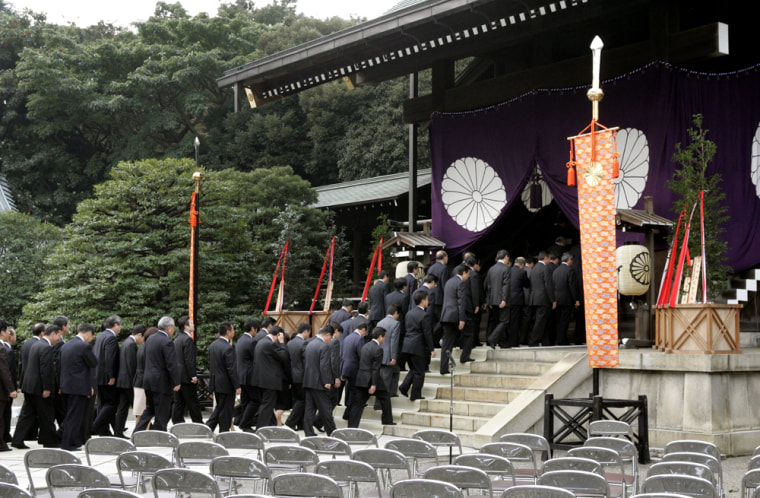 Japanese lawmakers visit Tokyo's Yasukuni war shrine on Wednesday.