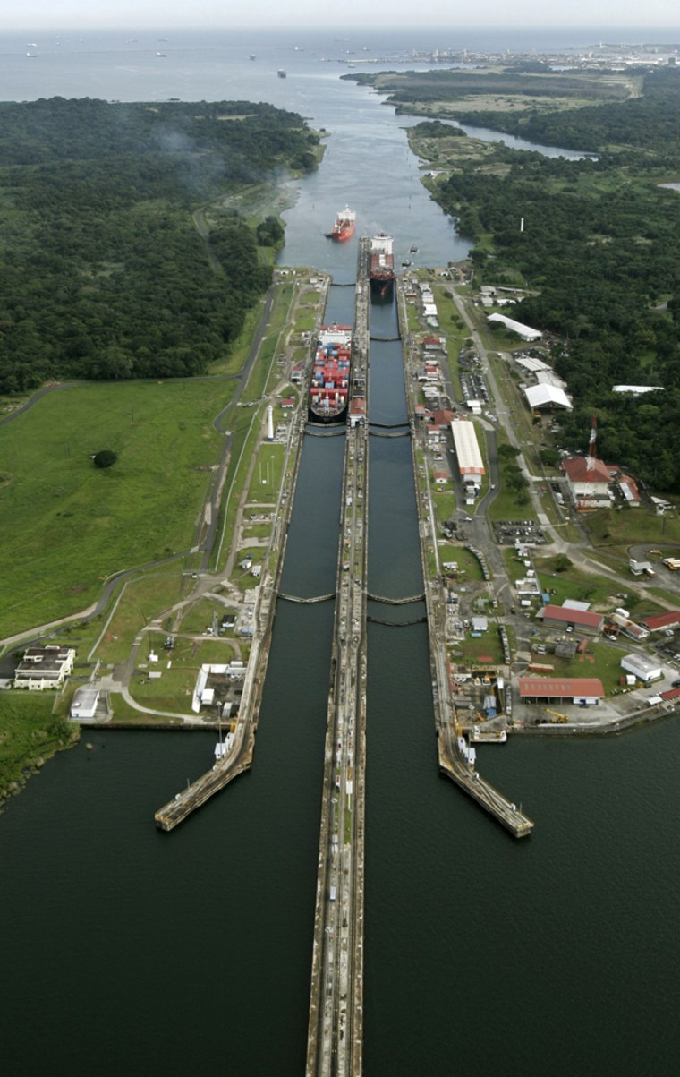 Cargo ships pass through Gatun Locks in Colon, Panama,onFriday.