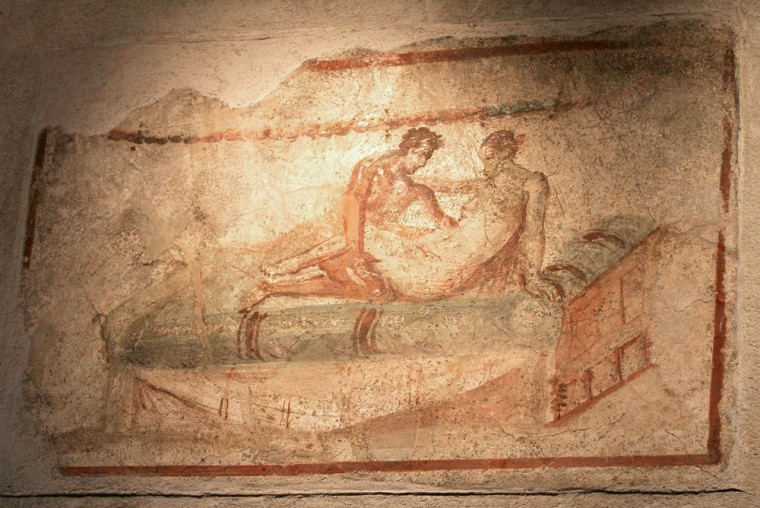 "An erotic frescoe is seen on the wall of the ""Lupanare"", the newly restored brothel in Pompeii, near Naples, Italy."