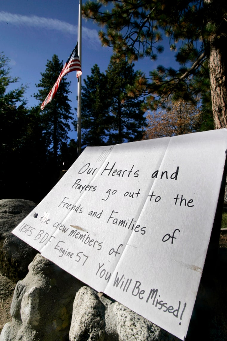 A homemade memorial sign remembers five U.S. Forest Service firefighters killed on Oct. 26, 2006, in theEsperanza fire in Southern California.