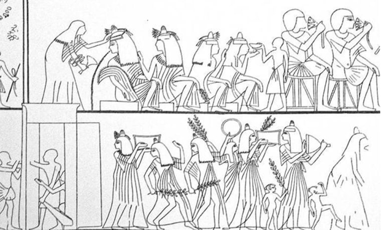 A drawing based on an ancient Egyptian wall painting shows a drinking festival in progress. The upper row of figures features revelers drinking wine, including one woman who has overindulged. The lower row shows a procession with musicians.