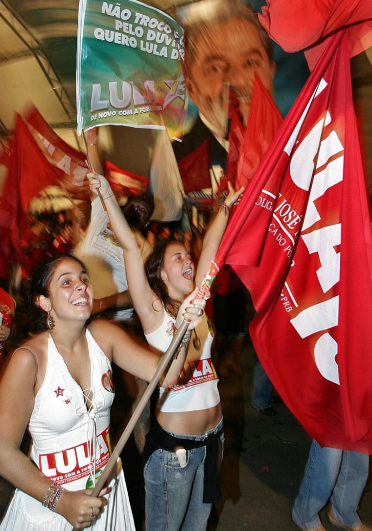 Supporters of Brazil's President Luiz In