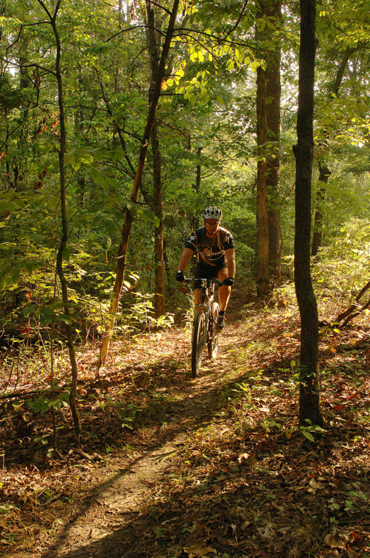 A biker traveling the trails of Syllamo bike trail in Mountain View, Ark.