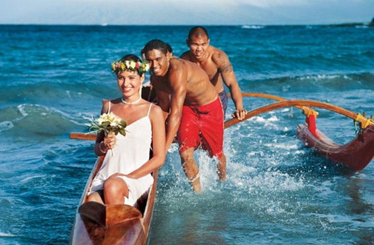 A bride arrives at the Four Seasons Resort Maui at Wailea.