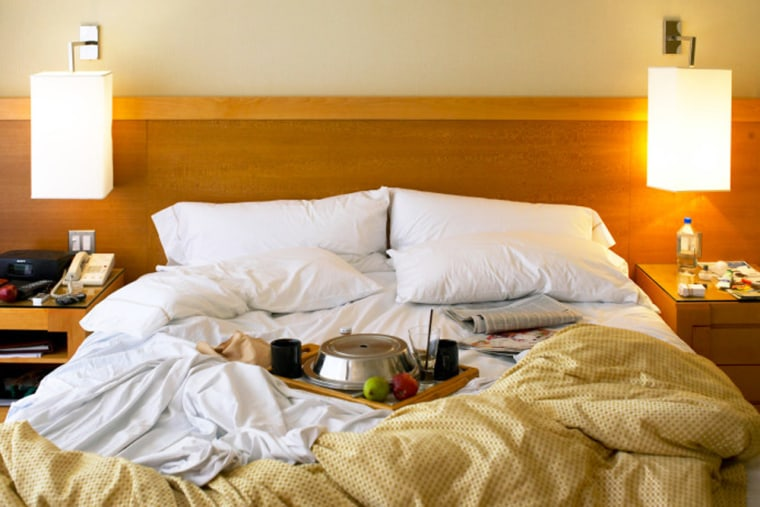 Tray of food on bed in hotel room  stock, msnbc, hotel, bed, eat in bed, food, breakfast, health