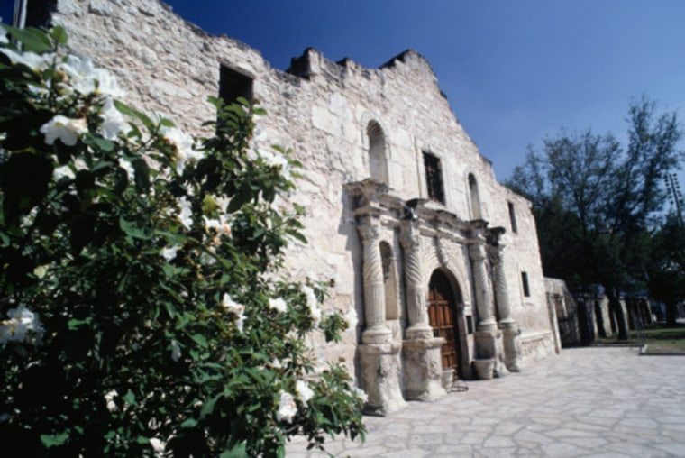 Facade of The Alamo in San Antonio, Texas.