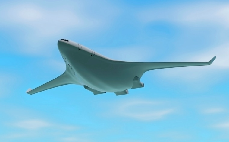 Handout rendering of a conceptual design for a quieter, environmentally friendly passenger plane unveiled by MIT and Cambridge University researchers