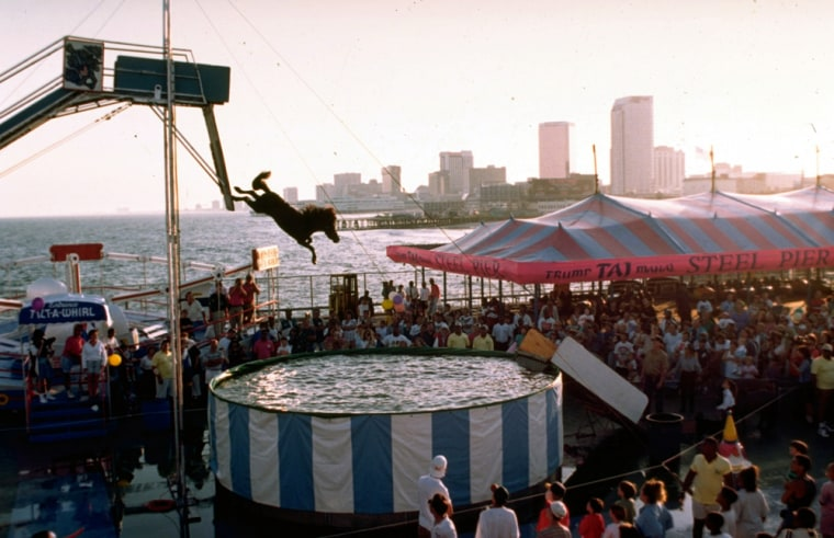 A horse is seen plunging into a pool of water at the Steel Pier in Atlantic City, N.J., back in 1993.