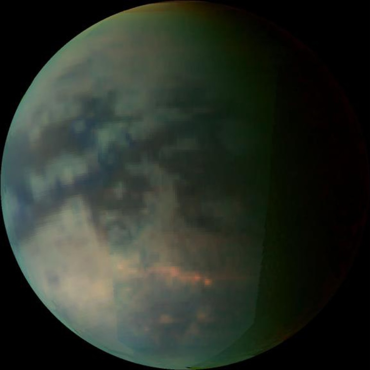 This image depicts Saturn's moon Titan as seen bythe Cassini spacecraft'svisual and infrared mapping spectrometer during a July flyby. The infrared view cuts through Titan's cloud cover to pick up light and dark surface details.