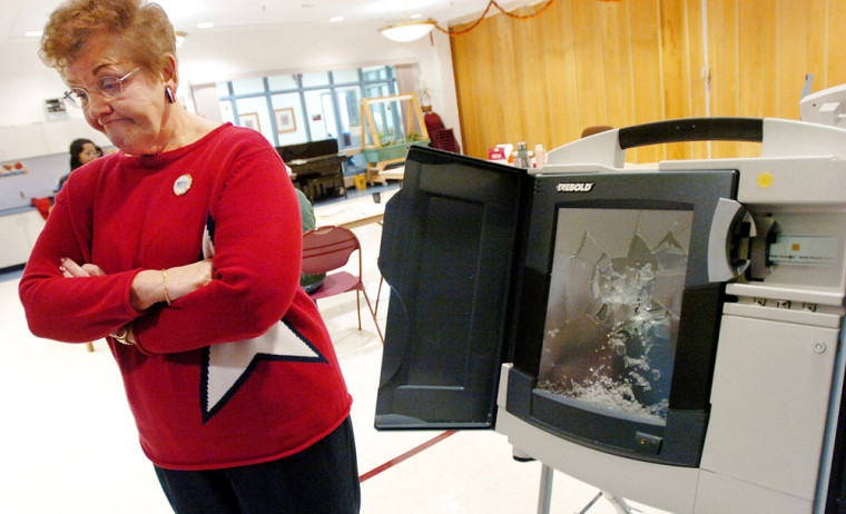 12th Ward 1st District voting poll worker Shirley Rossetti, of Allentown, Pa., stands next to a voting machine at Good Shepherd Home that election workers said was smashed by a voter.